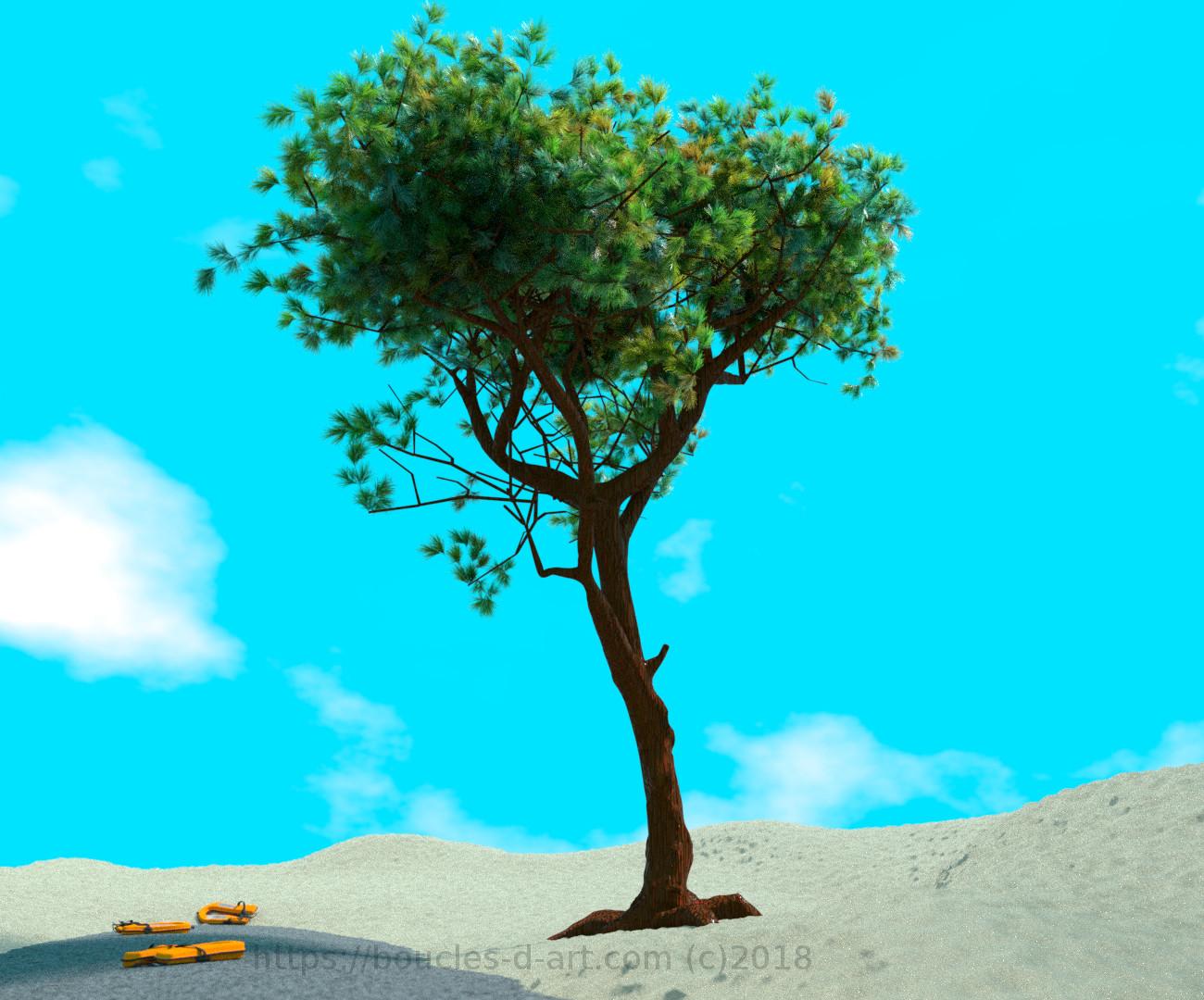 Trois gilets de sauvetage gisant sur une fin de route au mileu d'une dune et sous l'ombre d'un pin parasol