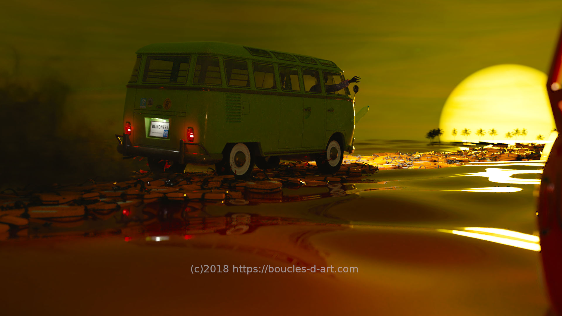Camping-car roulant sur une route de gilets de sauvetage