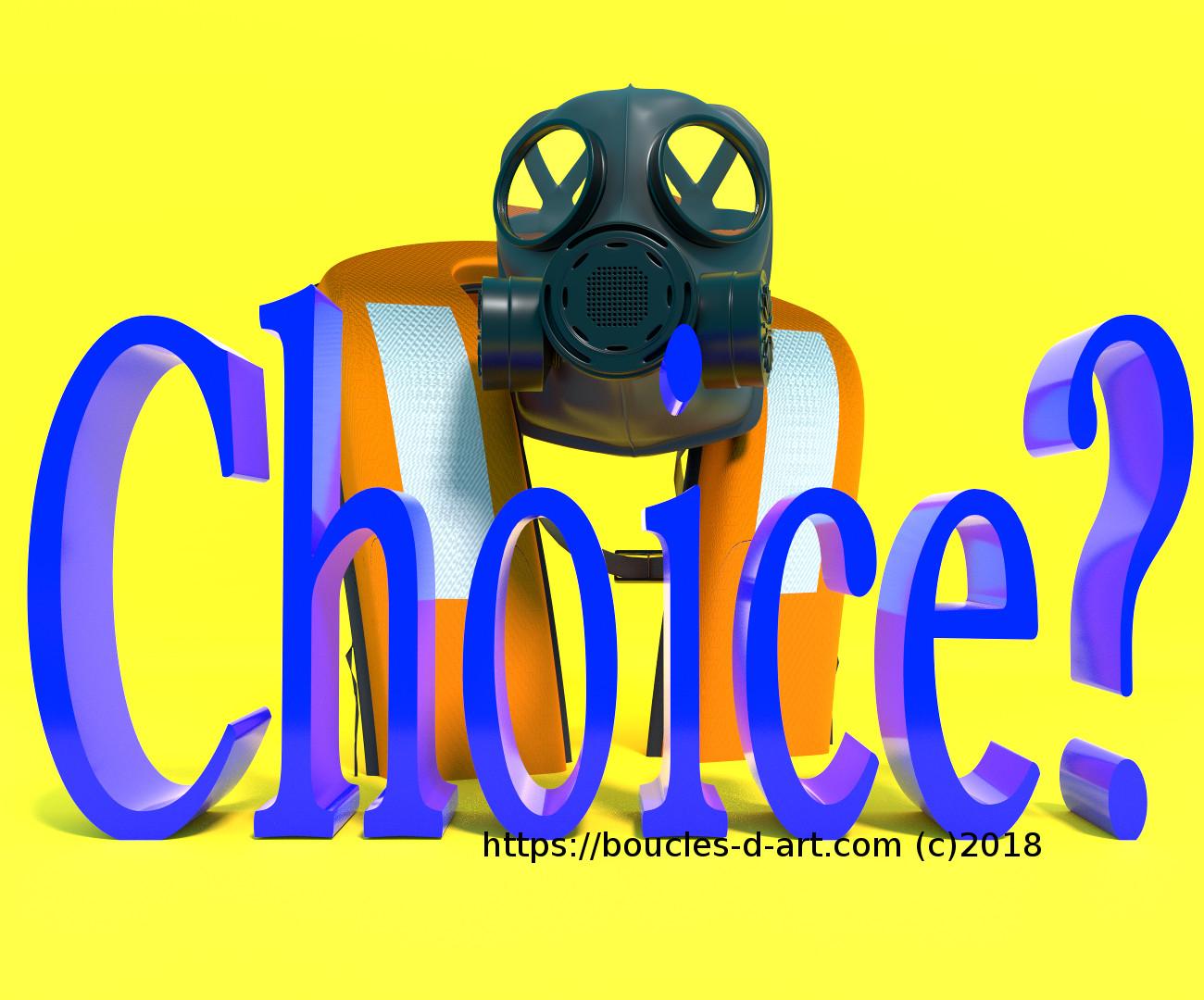 gilet de sauvetage associé à un masque à gaz pour dénoncer l'absence d'alternative des réfugiés de guerre qui risquent d'être gazés ou noyés