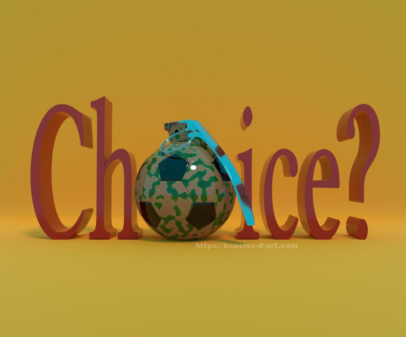 ballon de football en forme de grenade pour symboliser l'absence de choix des humains subissant les guerres